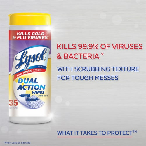 Lysol® Dual Action Citrus Scent Disinfecting Wipes Perspective: top
