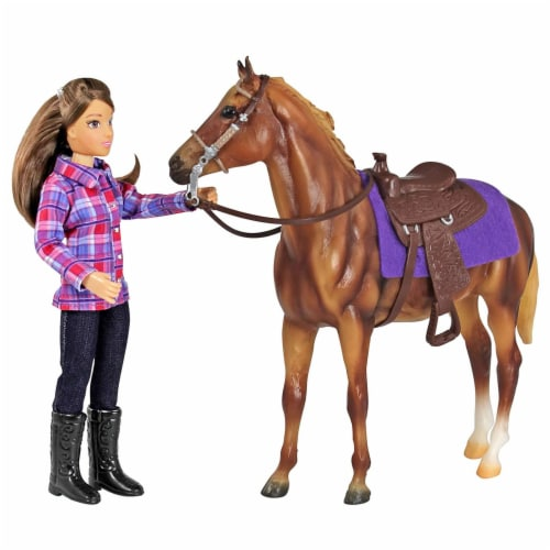 Breyer Freedom Series Western Horse and Rider Doll Kids Toy Set and Accessories Perspective: top