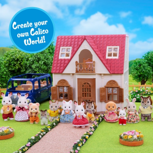 Calico Critters Red Roof Cozy Cottage Doll Set Perspective: top