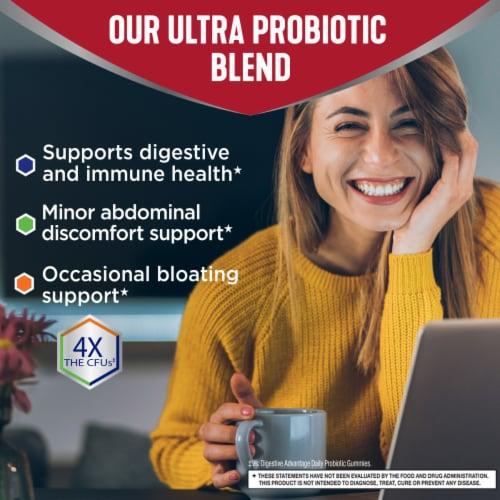 Digestive Advantage Multi-Strain Probiotic Ultra Digestive and Immune Health Gummies Perspective: top