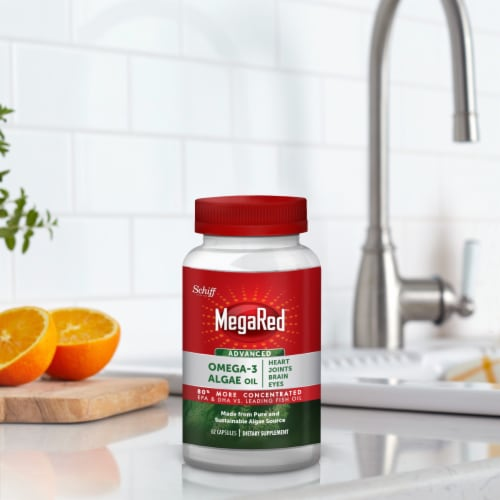Schiff MegaRed Omega-3 Algae Oil Dietary Supplement Softgels Perspective: top