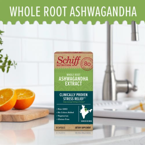 Schiff Whole Root Ashwagandha Extract Capsules Perspective: top