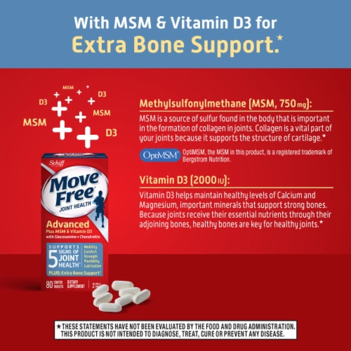 Move Free® Advanced Plus MSM and Vitamin D3 Joint Health Supplement Tablets Perspective: top