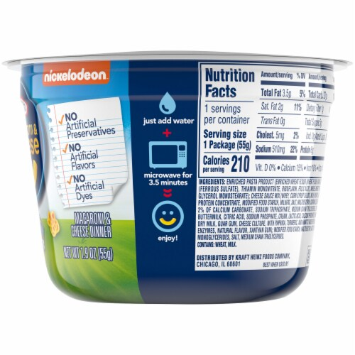 Kraft Macaroni & Cheese Dinner Cup Perspective: top