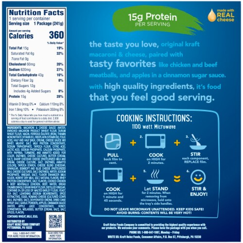 Kraft Macaroni & Cheese with Chicken & Beef Meatballs and Apples Perspective: top