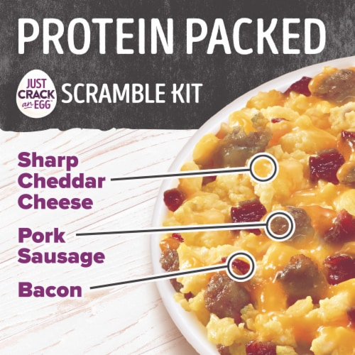 Ore-Ida Just Crack An Egg Sharp Cheddar Cheese Pork Sausage & Bacon Protein Packed Scramble Kit Perspective: top