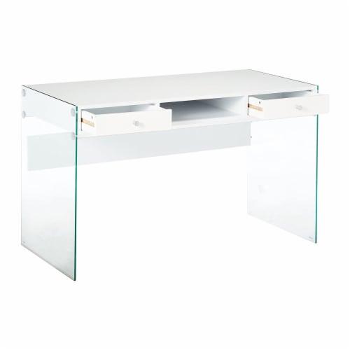 Coaster Dobrev Modern 2 Drawer Writing Desk in Glossy White Perspective: top
