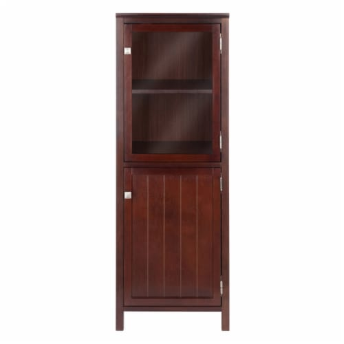 Winsome Brooke 2 Section Wooden Jelly Cupboard Cabinet in Walnut Perspective: top