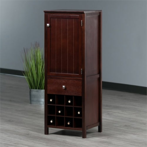 Winsome Brooke Wooden Wine Rack Jelly Cupboard in Walnut Perspective: top