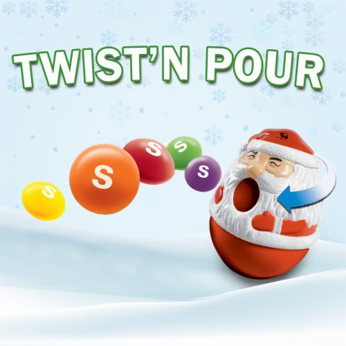 Skittles Original Twist 'n Pour Santa Christmas Candy Stocking Stuffers Perspective: top