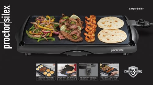 Proctor Silex® Nonstick Electric Griddle - Black Perspective: top