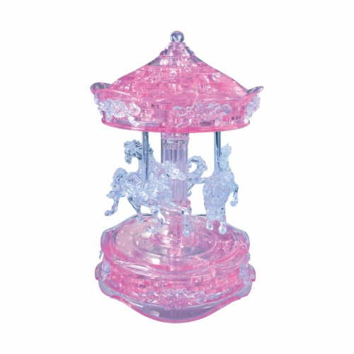 BePuzzled 3D Carousel Crystal Puzzle - Pink Perspective: top
