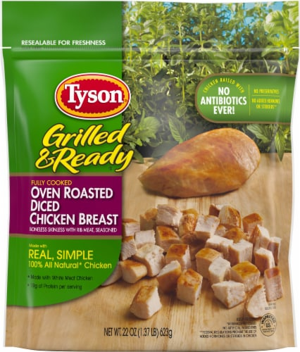 Tyson® Grilled & Ready® Fully Cooked Oven Roasted Diced Chicken Breast Perspective: top