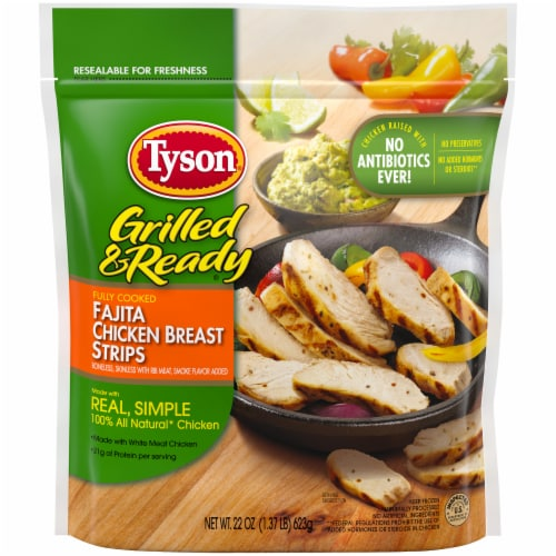 Tyson® Grilled & Ready® Fully Cooked Fajita Chicken Breast Strips Perspective: top