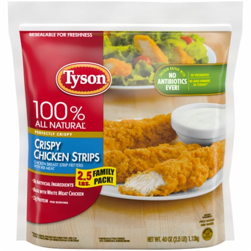 Tyson Fully Cooked Crispy Chicken Strips Perspective: top