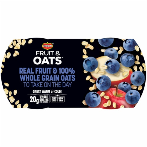 Del Monte Fruit and Oats Blueberry Apple Fruit Cups Perspective: top