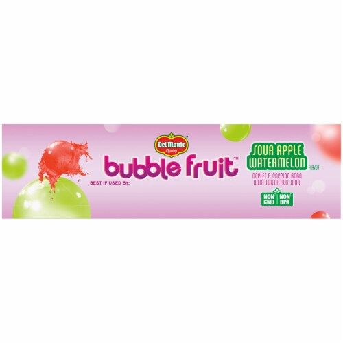 Del Monte Sour Apple Watermelon Bubble Fruit Cups Perspective: top
