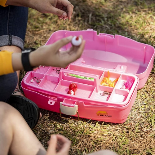 Plano 500089 Youth Fishing Tackle Bait Storage Box with Removable Tray, Pink Perspective: top