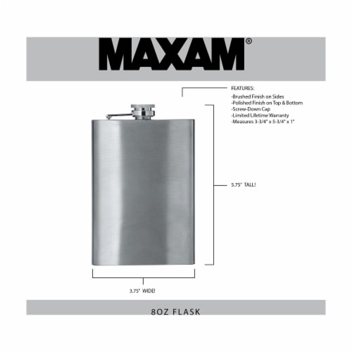 Maxam 8 Ounce Stainless Steel Flask Lightweight Drinking Flask with a Screw-On Leak Proof Lid Perspective: top