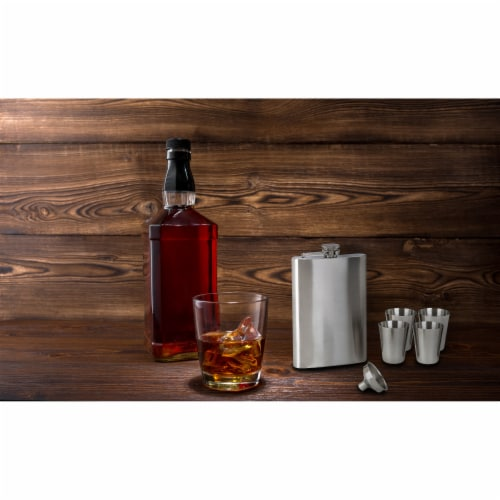 Maxam 6-piece Stainless Steel Flask Set Low-Cost High-Quality Addition to any Home Bar Perspective: top
