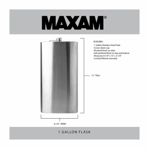 Maxam  Stainless Steel Flask Extra Large Drinking Flask Polished Silver 1 Gallon Capacity Perspective: top