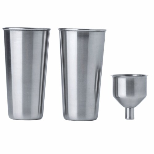 "Maxam 4 Piece ""Giant Shot"" Stainless Steel Flask Set 64 Ounces with Shot Glasses Perspective: top"