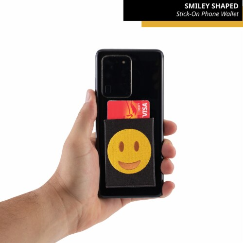 Smiley Face Shaped Stick-On Phone Wallet Perspective: top