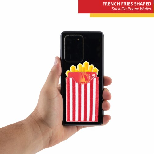 French Fries Shaped Stick-On Phone Wallet Perspective: top