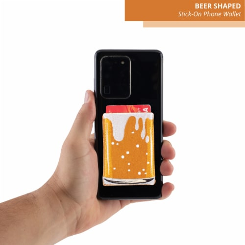 Beer Shaped Stick-On Phone Wallet Perspective: top