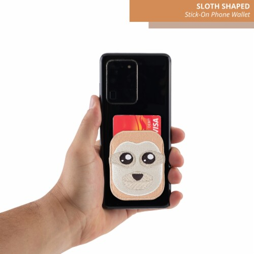 Sloth Shaped Stick-On Phone Wallet Perspective: top