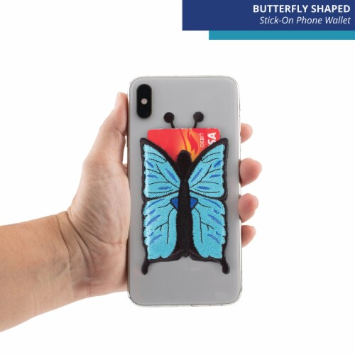 Blue Butterfly Shaped Stick-On Phone Wallet Perspective: top