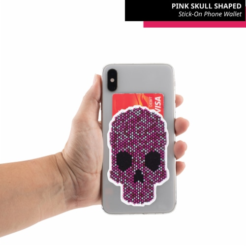 Pink Skull Shaped Stick-On Phone Wallet Perspective: top