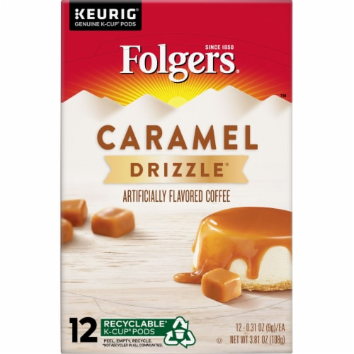 Folgers Gourmet Selections Caramel Drizzle Coffee K-Cup Pods Perspective: top