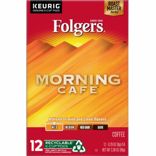 Folgers Gourmet Selections Morning Cafe Light Roast K-Cup Pods Perspective: top