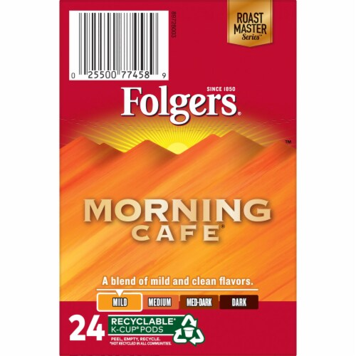 Folgers Morning Cafe Mild Roast Coffee K-Cup Pods Perspective: top