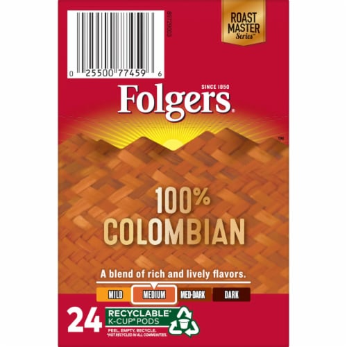 Folgers 100% Colombian Medium Roast Coffee K-Cup Pods Perspective: top