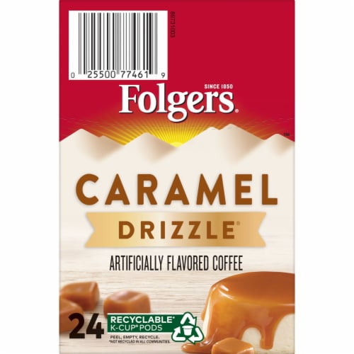 Folgers Caramel Drizzle Coffee K-Cup Pods Perspective: top