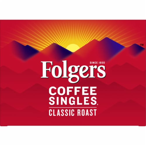 Folgers Coffee Singles Classic Roast Medium Ground Coffee Perspective: top