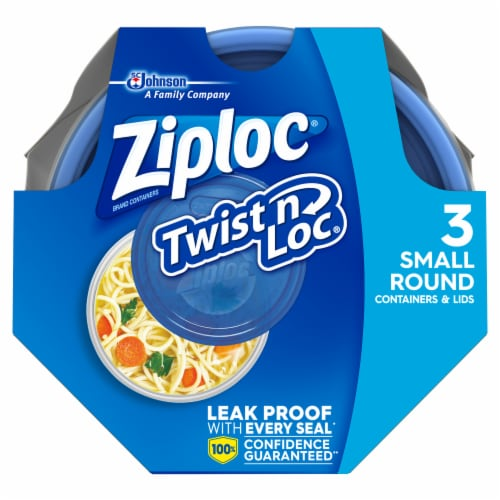 Ziploc Twist n Loc Round Storage Pint Containers & Lids - Clear/Blue Perspective: top