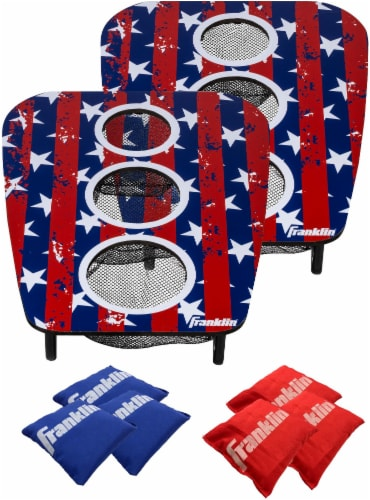 Franklin USA 3-Hole Bean Bag Toss Yard Game – Red/White/Blue Perspective: top