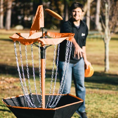 Franklin Metal Chain Disc Golf Target - Black/Orange Perspective: top