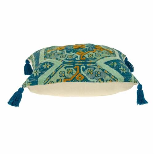 Parkland Collection Lotus Transitional Teal Throw Pillow Perspective: top