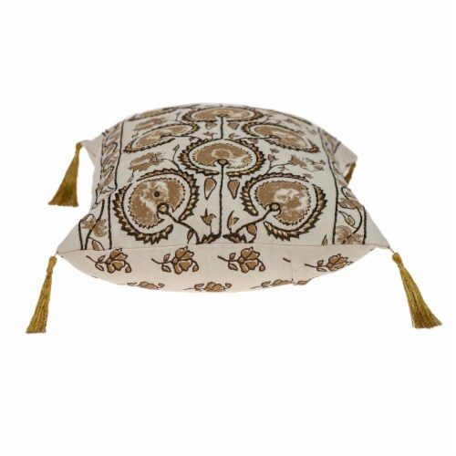 Parkland Collection Venus Transitional Beige Throw Pillow Perspective: top