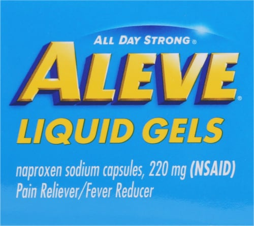 Aleve® Naproxen Sodium Pain Reliever/Fever Reducer Liquid Gels Capsules 220mg Perspective: top
