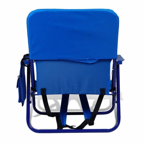 Copa Backpack Single Position Folding Aluminum Beach Lounge Chair, Dark Blue Perspective: top