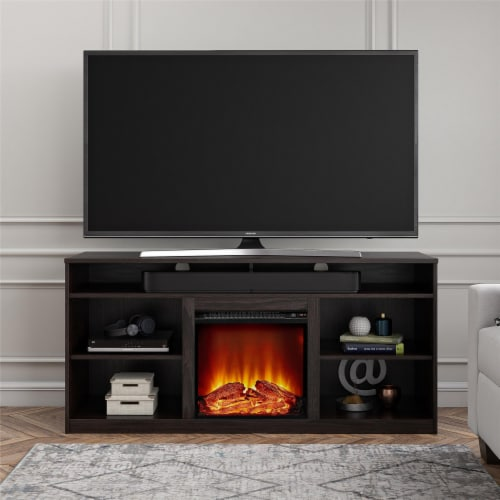 RealRooms Vesta Fireplace TV Stand for TVs up to 65 , Espresso Perspective: top