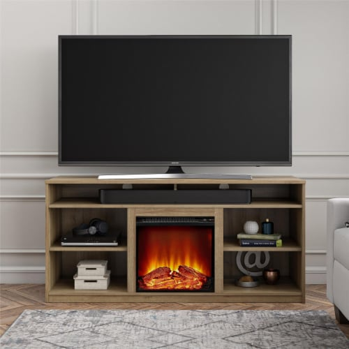 RealRooms Vesta Fireplace TV Stand for TVs up to 65 , Natural Perspective: top