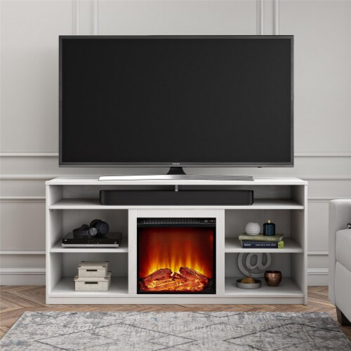 RealRooms Vesta Fireplace TV Stand for TVs up to 65 , White Perspective: top