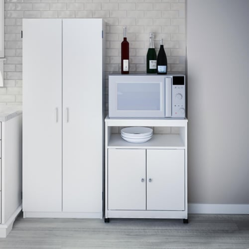 Landry Microwave Cart, White Perspective: top
