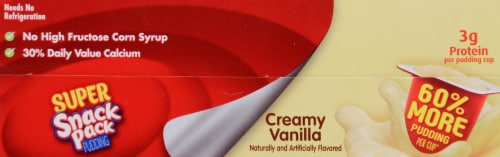 Snack Pack Super Creamy Vanilla Pudding Perspective: top